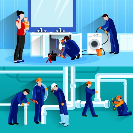 leakage: Two plumber horizontal compositions with craftsmen doing repair of pipeline in house flat vector illustration