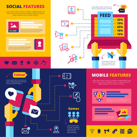 chats: Social network features flat banners composition with infographic elements design with games chats and contacts abstract vector illustration