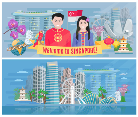 business district: Welcome to singapore 2 flat banners poster with marina bay and business district abstract vector isolated illustration
