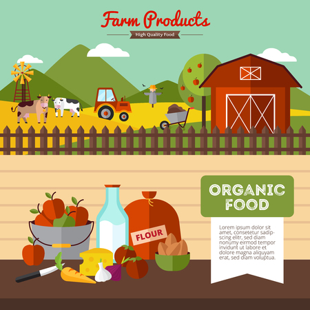 farmyard: Two horizontal farm banners with organic food and farmyard in flat style vector illustration