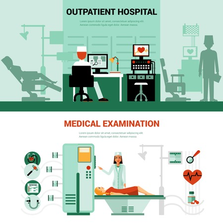 medical examination: Medical specialists banners with scenes of outpatient hospital and medical examination isolated vector illustration