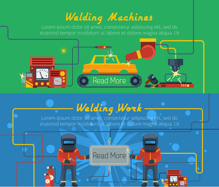 fireproof: Two flat horizontal vector banners with illustration of welders tools and welding machines