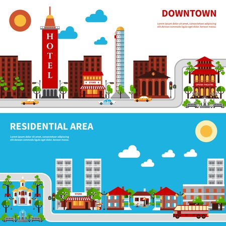 districts: City districts banners with downtown and residential houses isolated vector illustration
