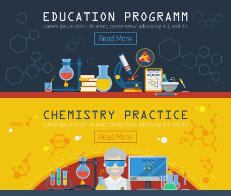 Chemistry horizontal banners set with equipment for education program and chemical practice flat vector illustration