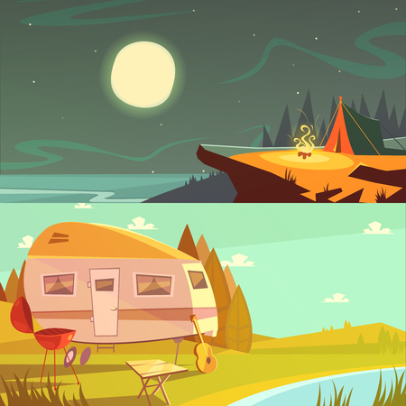 camping: Hiking and camping cartoon horizontal banners set with trailer and tent isolated vector illustration
