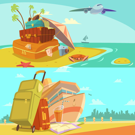 sunglasses cartoon: Travel horizontal banners set with voyage and beach resort symbols cartoon isolated vector illustration