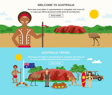 australia landscape: Welcome to australia banners with landscape seafood aborigine surfing animals and flag isolated vector illustration Illustration