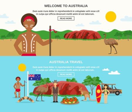 Welkom bij australia spandoeken met landschap zeevruchten inboorling surfen dieren en geïsoleerd vlag vector illustratie