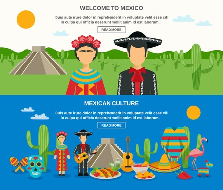 sightseeings: Mexico banner set with colorful elements of native culture landscape and sightseeings vector illustration Illustration
