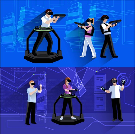 virtual world: Virtual and augmented reality horizontal banners composition poster with people immersed in simulated world abstract isolated vector illustration Illustration