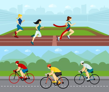 women sport: Sport people horizontal banner set with running women and cyclists racing by the road vector illustration
