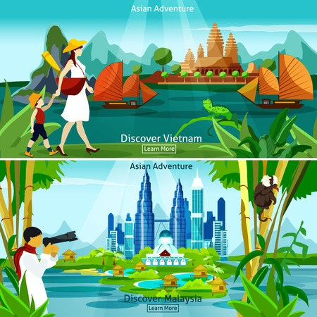 asian business: Vietnam and malaysia travel flat colorful compositions with modern and historical asian architecture and tourists at exotic background vector illustration