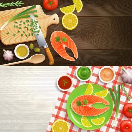 piatto: laymcooking piatto 2 striscioni realistici con gli ingredienti del piatto di pesce su struttura di legno illustrazione vettoriale