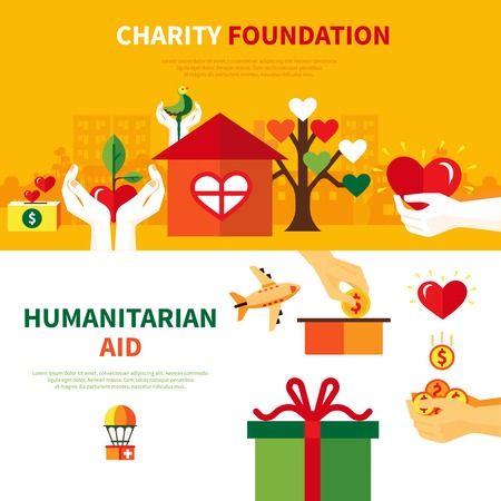 poverty relief: Charity foundations for humanitarian aid 2 flat horizontal banners set with heart and donation symbols abstract vector illustration