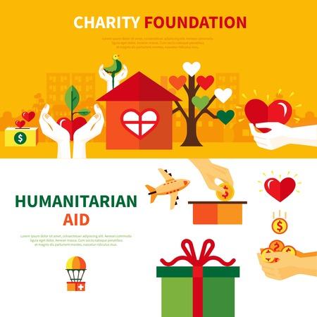 pobreza: fundaciones de caridad para la ayuda humanitaria 2 banderas planas horizontales establecidas con el corazón y la donación de símbolos Resumen ilustración vectorial