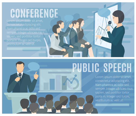 audiences: 3501 Public speech to live audience and successful conference presentations 2 flat banners composition poster abstract isolated illustration vector