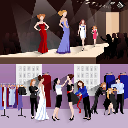 backstage: Fashion model horizontal banner set with women on catwalk and backstage dressing elements isolated vector illustration