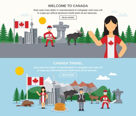 Welcome to canada banners with hockey animals food buildings and landscape isolated vector illustration