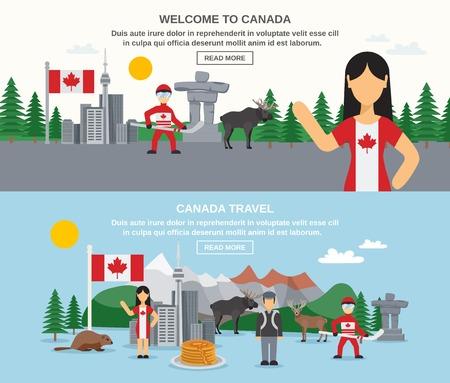 Welkom bij canada spandoeken met hockey dieren voedsel gebouwen en geïsoleerd landschap vector illustratie Stock Illustratie