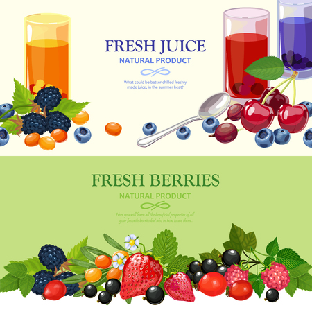 cultivated: Best wild and garden cultivated berries 2 flat horizontal banners set with tastiest juices abstract isolated vector illustration Illustration