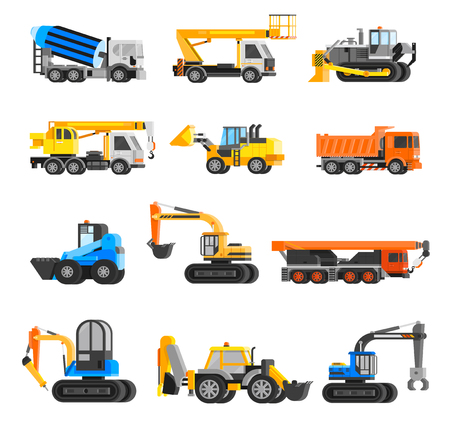 road grader: Construction machines orthogonal icons set with digger and crane flat isolated vector illustration