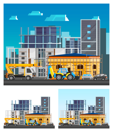 construction firm: Building construction orthogonal compositions set with city flat isolated vector illustration Illustration