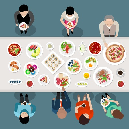 Banquet Catering Party Top View poster with people choosing and eating meals standing by the table vector illustration Vectores