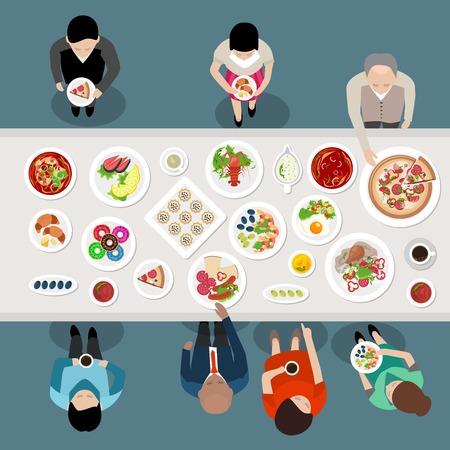 Banquete Party Catering Vista superior del cartel con la gente elegir y comer los alimentos que se colocan en la ilustración tabla de vectores Ilustración de vector