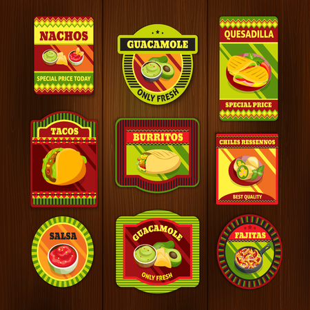 Mexican food bright colorful emblems of national dishes with meat spices on wooden background isolated vector illustration