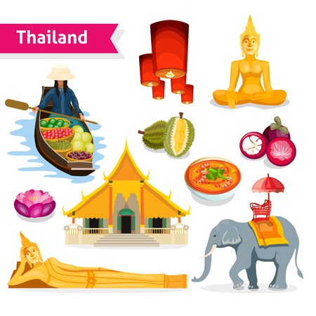 temple thailand: Thailand travel set with buddha statues temple tropical fruits and lanterns isolated vector illustration