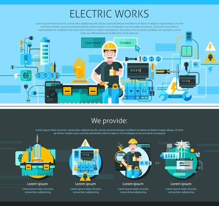 instrumentation: Electrician one page design with advertising symbols flat vector illustration