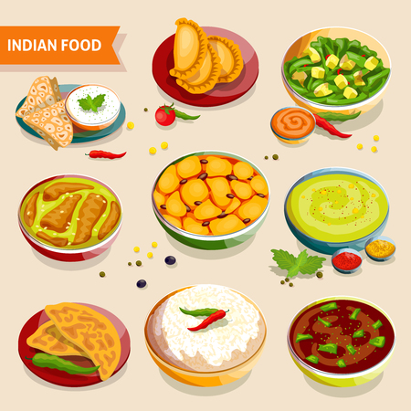 Indian food set of national dishes with rice beans chicken meat vegetables and spices vector illustration Illustration