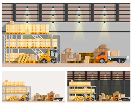 orthogonal: Warehouse orthogonal compositions set with van and loader flat isolated vector illustration