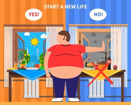 Composición del diseño de la obesidad con el hombre gordo en el centro y paquetes de alimentos sanos y de la chatarra en el fondo ilustración vectorial plana