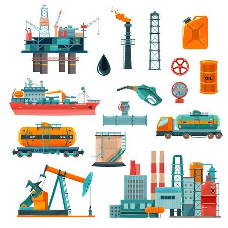 illustration industry: Set of oil industry production transportation extracting cartoon icons vector illustration