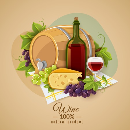 Poster with the image of red wine and cheese snack submitted on colored background vector illustration