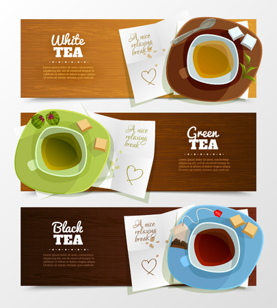 glassful: Set of three horizontal tea banners with top viewed caps on saucers with cute love letters underneath vector illustration Illustration
