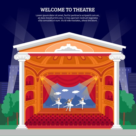 stage performance: Theatre performance playbill colorful poster print with ballet dancers on stage for program booklet abstract vector illustration
