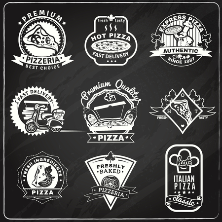 Pizza chalkboard emblems set with classic baked pizza symbols flat isolated vector illustration