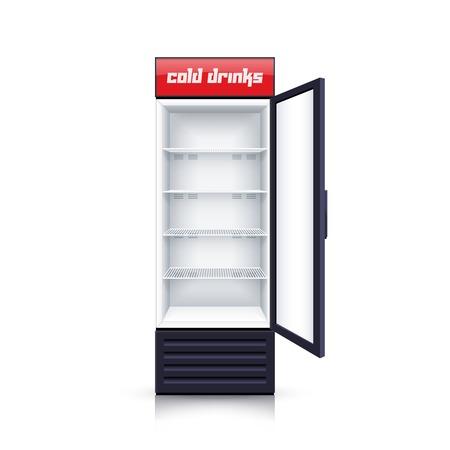 refrigerador: refrigerador vertical, moderna con el panel frontal transparente abierto para las bebidas de enfriamiento fondo realista ilustración vectorial aislado Vectores