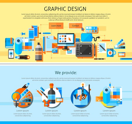 printing house: Graphic art page design with advertising symbols flat isolated vector illustration