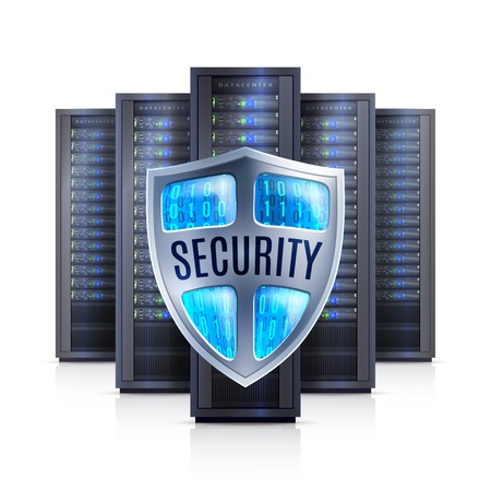 bastidores de servidores de ordenador con el símbolo de protección de escudo de seguridad negras sobre fondo blanco ilustración vectorial aislado realista