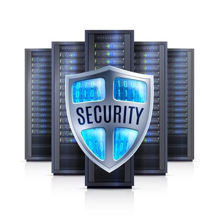 Computer server racks met beveiliging schild bescherming symbool zwart op witte achtergrond realistische geïsoleerde vector illustratie
