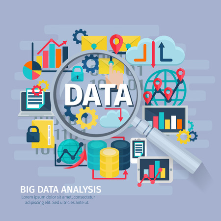 Big data analytics flat icons composition conceptual poster design with hand lens magnifying glass symbol abstract vector illustration