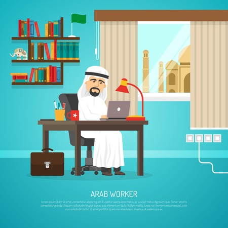 beard man: Poster of arab in traditional white clothing working on his notebook in room cartoon vector illustration