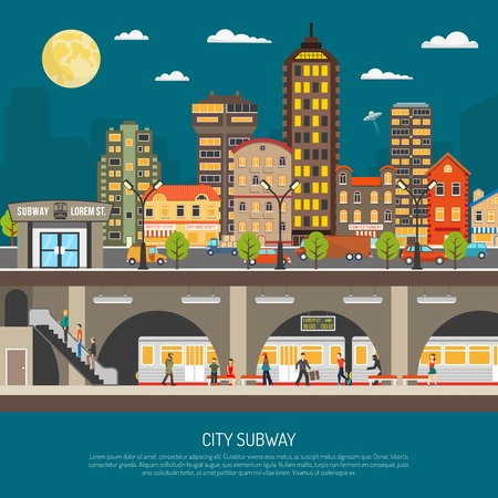 metro train: Underground poster of cityscape with subway station and platform train passengers under city street flat vector illustration