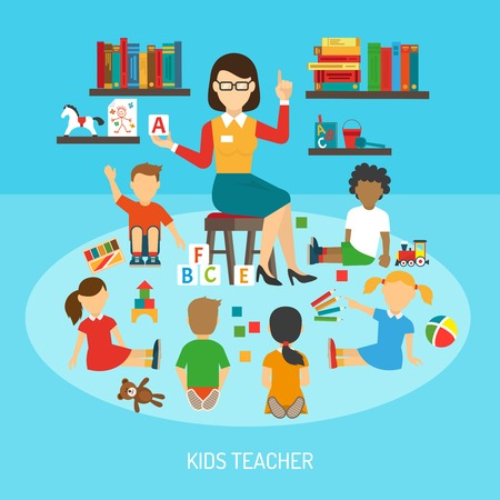 Kindergarten poster of kids teacher in play room explaining alphabet to children around her flat vector illustration Illustration