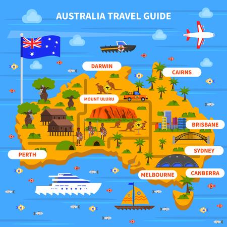 Guide de Voyage Australie avec carte drapeau océan et sites plat illustration vectorielle
