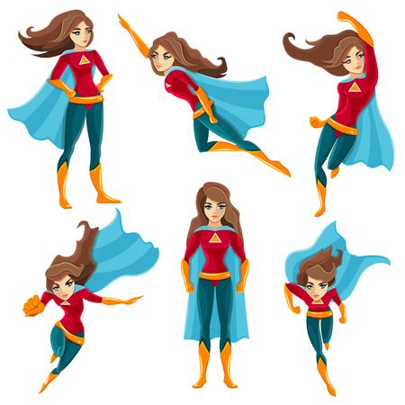 Ações de super-mulher de cabelos compridos, definidas no estilo colorido dos desenhos animados com ilustração em vetor poses diferentes
