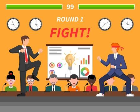 pelea: ideas de negocio competitivas luchar por el éxito del cartel plana simbólica para empresas creativas gestores Resumen ilustración vectorial